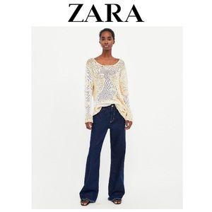 NWT Zara Ecru Sweater with contrasting details